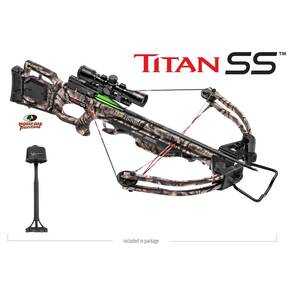 Tenpoint Titan SS Crossbow Skinny Package  3x32 MultiLine Scope & 3-Arrow Quiver (Cocker & Arrows Not Included) - Mossy Oak Treestand