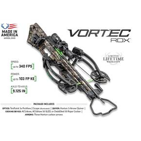 Horton Vortec RDX Reverse Draw Crossbow Package with Tenpoint Pro-View 2 Scope & ACUdraw 50 SLED - Mossy Oak Treestand