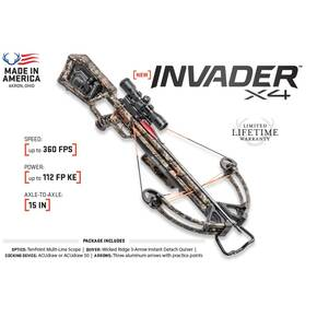Wicked Ridge Invader X4 Crossbow Package with Tenpoint Multi-Line Scope & ACUdraw - Mossy Oak