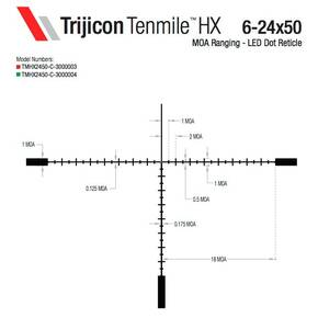 Trijicon Tenmile HX 6-24x50 Rifle Scope 30mm (SFP) Green LED Dot MOA Ranging Low Capped Adjusters