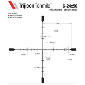Trijicon Tenmile 6-24x50 Rifle Scope 30mm (SFP) Green LED Dot MRAD Ranging Low Capped Adjusters