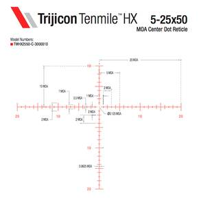 Trijicon Tenmile HX 5-25x50 Rifle Scope 30mm (SFP) Red/Green MOA Center Dot Exp Elev Adj Return to Zero