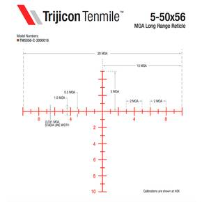 Trijicon Tenmile 5-50x56 Extreme Long-Range Rifle Scope 34mm (SFP) Red/Green MOA Long Range Elev Adjust Return to Zero
