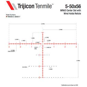 Trijicon Tenmile 5-50x56 Extreme Long-Range Rifle Scope 34mm (SFP) Red/Green MRAD Center Dot Elev Adjust Return to Zero