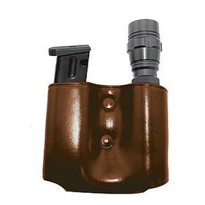 Tagua Magazine Flashlight Carrier Combo - Ambidextrous Brown fits Glock 9mm
