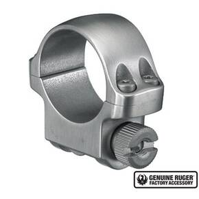 "Ruger Steel Scope Ring - Single (3K) 1"" Low .812"" Height - Stainless Finish"