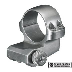 "Ruger Steel Scope Ring - Single (4KO) 1"" Medium OFFSET .937"" Height - Stainless Finish"