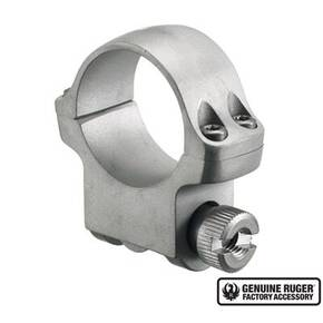 "Ruger Steel Scope Ring - Single (4KHM) 1"" Medium .937"" Height - Hawkeye Matte Stainless Finish"