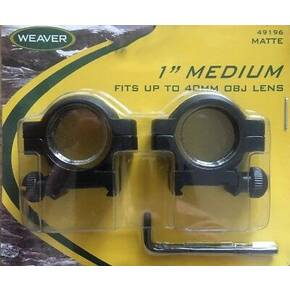 "Weaver 2-Piece Weaver-Style Aluminum Scope Rings 1"" Medium - Matte Black"