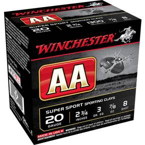 "Winchester AA Super Sport 20 ga 2 3/4""  7/8 oz #8 1300 fps - 25/box"