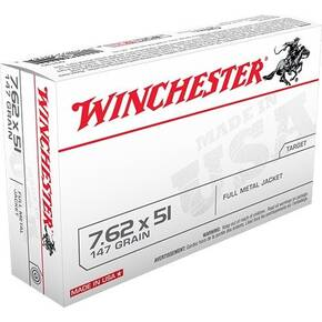 Winchester USA Rifle Ammunition 7.62 Nato 147 gr FMJ  - 20/box