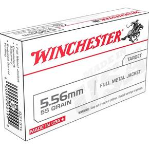 Winchester USA Lake City M193 Rifle Ammunition 5.56mm 55gr FMJ 3240 fps 20/ct