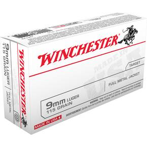 Winchester USA Handgun Ammunition 9mm Luger 115 gr FMJ 1190 fps 500/ct (Case)