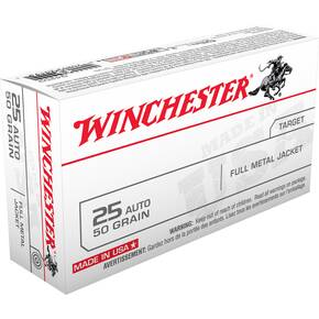 Winchester USA Handgun Ammunition .25 ACP 50 gr FMJ 50/box