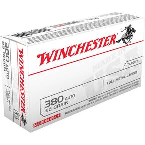 Winchester USA Handgun Ammunition .380 ACP 95 gr FMJ  50/box