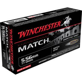 Winchester Match Rifle Ammunition 5.56mm 77 gr 2750 fps BTHP 20/Box