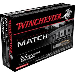 Winchester Match Rifle Ammunition 6.5 Creedmoor 140 gr BTHP 2710 fps 20/ct
