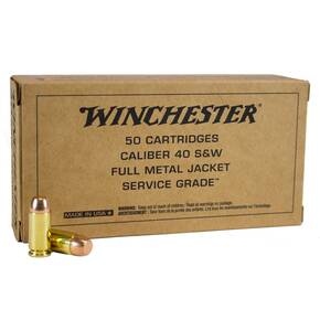 Winchester Service Grade Ammunition .40 S&W 165gr FMJ-FN 50/ct