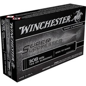 Winchester Super Suppressed Rifle Ammunition .308 Win 180 gr FMJOT 1060 fps 20/ct