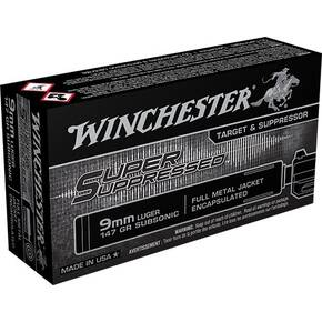 Winchester Super Supporessed Handgun Ammunition 9mm Luger 147 gr FMJE 990 fps 50/ct