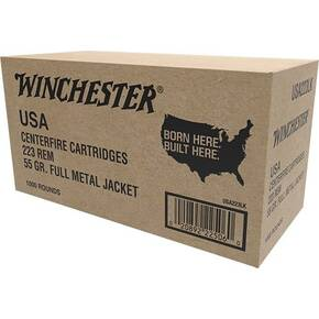 Winchester USA Rifle Ammunition 223 Rem 55 gr FMJ 3240 fps 1000/ct