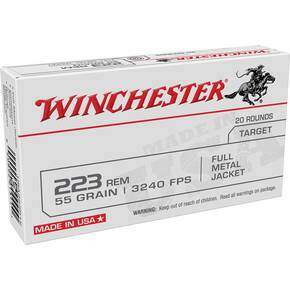 Winchester USA Lake City Rifle Ammunition .223 Rem 55gr FMJ 3240 fps 20/ct
