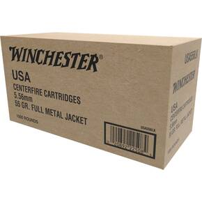 Winchester USA Lake City Rifle Ammunition 5.56mm 55gr FMJ 3270 fps 1000/ct