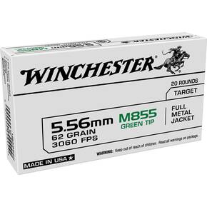 Winchester USA Lake City M855 Rifle Ammunition 5.56mm 62gr FMJ 3060 fps 20/ct