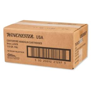 Winchester USA Handgun Ammunition 9mm Luger 115 gr FMJ 1190 fps 1000/case