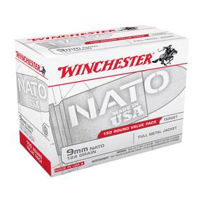 Winchester NATO Handgun Ammunition 9mm Luger 124 gr FMJ 150/ct 1140fps