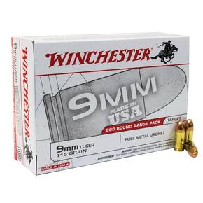Winchester USA Handgun Ammunition 9mm Luger 115 gr FMJ 1000/ct (Case)