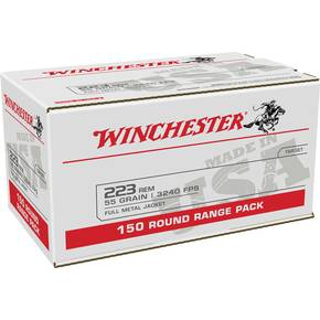 Winchester USA Lake City Rifle Ammunition .223 Rem 55gr FMJ 3240 fps 150/ct