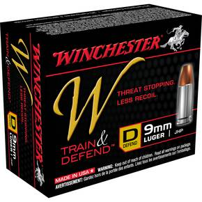 Winchester W Train & Defend Handgun Ammunition 9mm 147 gr JHP 20/Box