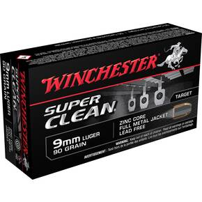 Winchester Super Clean NT Handgun Ammunition 9mm Luger 90 gr JSP 1325 fps 50/ct