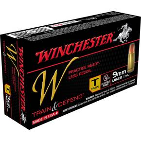 Winchester W Train & Defend Handgun Ammunition 9mm 147 gr FMJ 50/Box