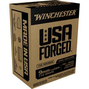 Winchester USA Forged Handgun Ammunition 9mm Luger 115 gr FMJ 1190 fps 150/ct