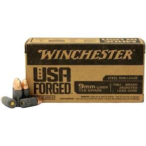Winchester USA Forged Handgun Ammunition 9mm Luger 115 gr FMJ 1190 fps 1000/ct