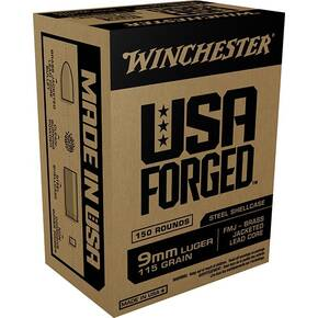 Winchester USA Forged Handgun Ammunition 9mm Luger 115 gr FMJ 1190 fps 50/ct