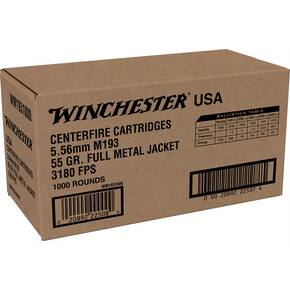 Winchester USA Lake City M193 Rifle Ammunition 5.56mm 55gr FMJ 3240 fps 1000/ct