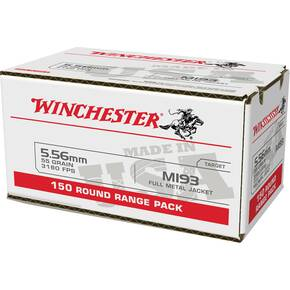 Winchester USA Lake City M193 Rifle Ammunition 5.56mm 55gr FMJ 3240 fps 150/ct