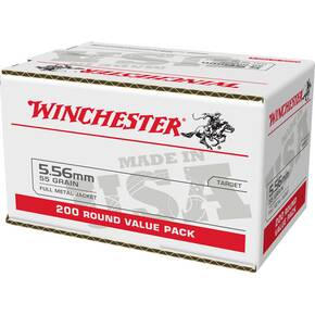 Winchester USA Lake City M193 Rifle Ammunition 5.56mm 55gr FMJ 3240 fps 200/ct