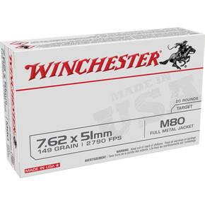 Winchester USA Lake City M80 Rifle Ammunition 7.62x51mm 149gr FMJ 2790 fps 20/ct
