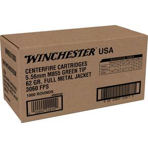 Winchester USA Lake City M855 Rifle Ammunition 5.56mm 62gr FMJ 1255 fps 1000/ct