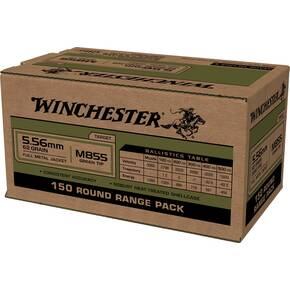 Winchester USA Lake City M855 Rifle Ammunition 5.56mm 62gr FMJ 1255 fps 150/ct