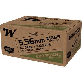 Winchester USA Lake City M855 Rifle Ammunition 5.56mm 62gr FMJ 1255 fps 500/ct