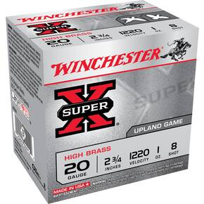 "Winchester Super-X High-Brass 20 ga 2 3/4""  1 oz #8  - 25/box"