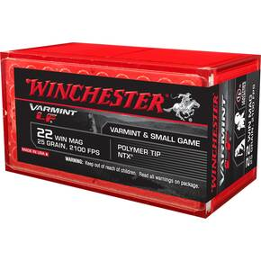 Winchester Varmint Lead Free Rimfire Ammunition .22 WMR 25 gr Poly Tip 2100 fps 50/ct