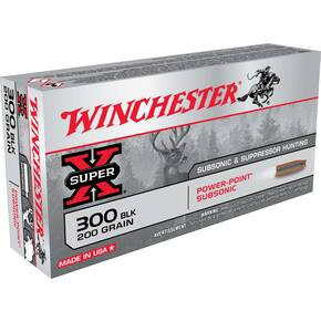 Winchester Super-X Subsonic Rifle Ammunition .300 AAC Blackout 200 gr HP 1060 fps 20/ct