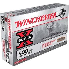 Winchester Super-X Subsonic Rifle Ammunition .308 WIN 185 gr  HP 1060 fps 20/ct