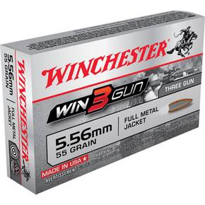 Winchester Win3Gun Rifle Ammunition 5.56mm 55 gr FMJ 20/ct